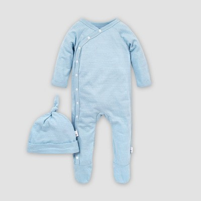 Burt's Bees Baby® Baby Boys' Organic Cotton Jacquard Stripe Coverall and Knot Top Hat Set - Blue Newborn