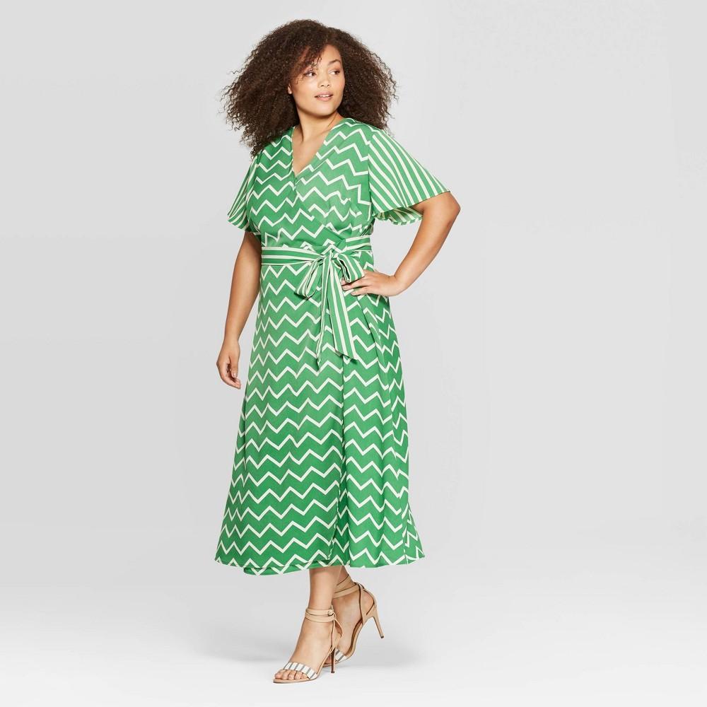 Plus Size Vintage Dresses, Plus Size Retro Dresses Womens Plus Size Short Sleeve V-Neck Wrap Dress with Belt - Who What Wear 3X Green Size 3XL $29.39 AT vintagedancer.com
