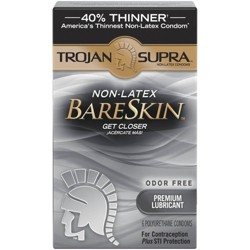 Trojan Supra Non-Latex BareSkin Lube Condoms - 6ct