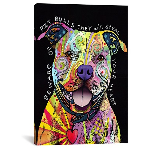 Beware of Pit Bulls by Dean Russo Canvas Print - image 1 of 2