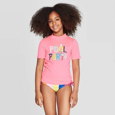 5567bd22d Girls' Pool Party Rash Guard - Cat & Jack™ Pink : Target