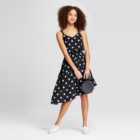 Womens Polka Dot Sleeveless Ruffle Skirt Dress A New Day Black