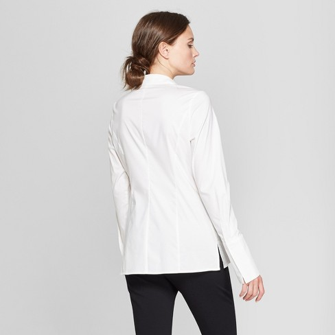 1dbcdfc7 Women's Long Sleeve Fitted Button-Down Collared Shirt - Prologue™ White XXL  : Target