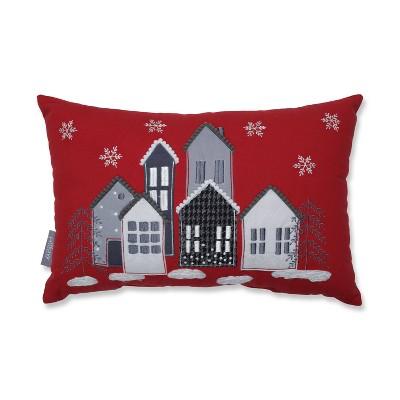 "11.5""x18.5"" Festive Village Lumbar Throw Pillow - Pillow Perfect"