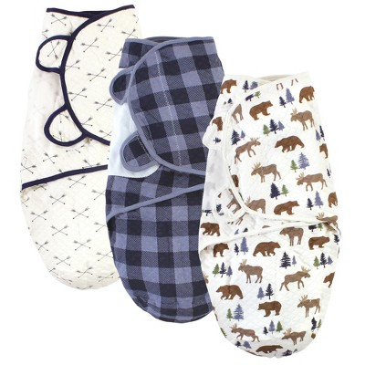 Hudson Baby Infant Boy Quilted Cotton Swaddle Wrap 3pk, Moose Bear, 0-3 Months