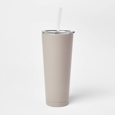 25oz Double Wall Stainless Steel Tumbler with Lid & Straw - Room Essentials™