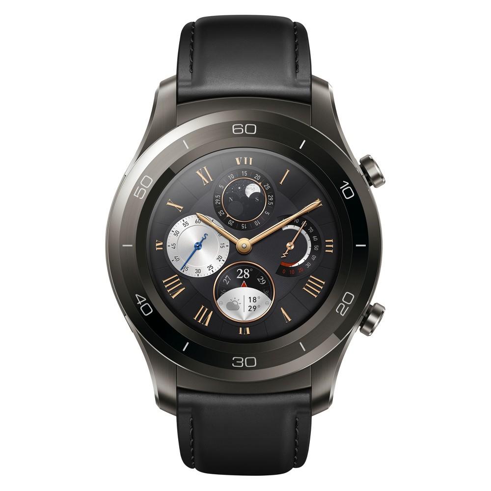 Huawei Watch 2 Classic Smartwatch - Titanium Gray/Black Hybrid Strap, Size: 33mm