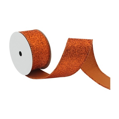"Orange Glitter 1 1/2"" x 9' Wired Ribbon - image 1 of 2"