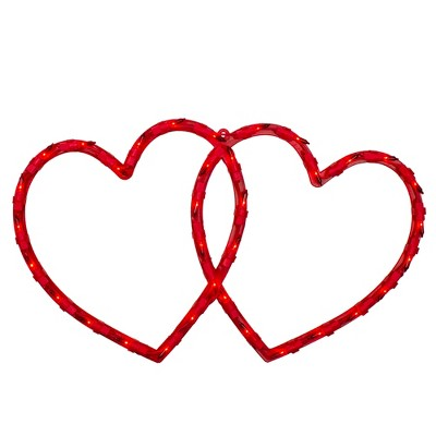 """Northlight 17"""" Lighted Red Double Heart Valentine's Day Window Silhouette Decoration"""