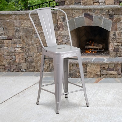 """Flash Furniture Commercial Grade 24"""" High Metal Indoor-Outdoor Counter Height Stool with Back"""