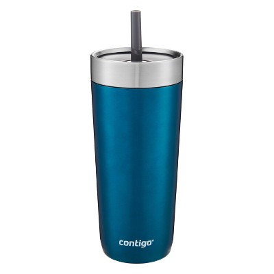 Contigo 18oz Stainless Steel Luxe Tumbler with Spill-Proof Lid and Straw Blue