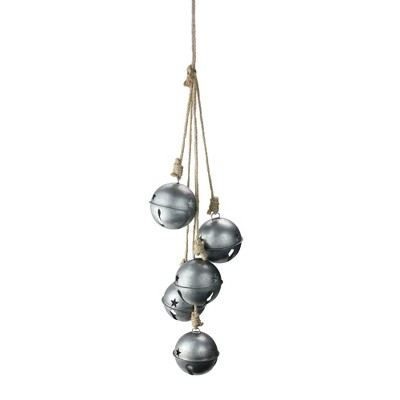 """Ganz 27.5"""" Silver and Ivory Jingle Bells Christmas Door Swag"""