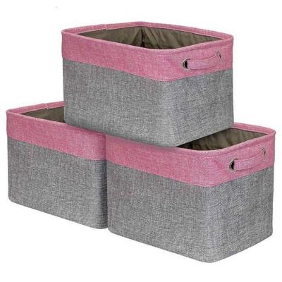 Sorbus 3pk Twill Storage Basket Set Pink