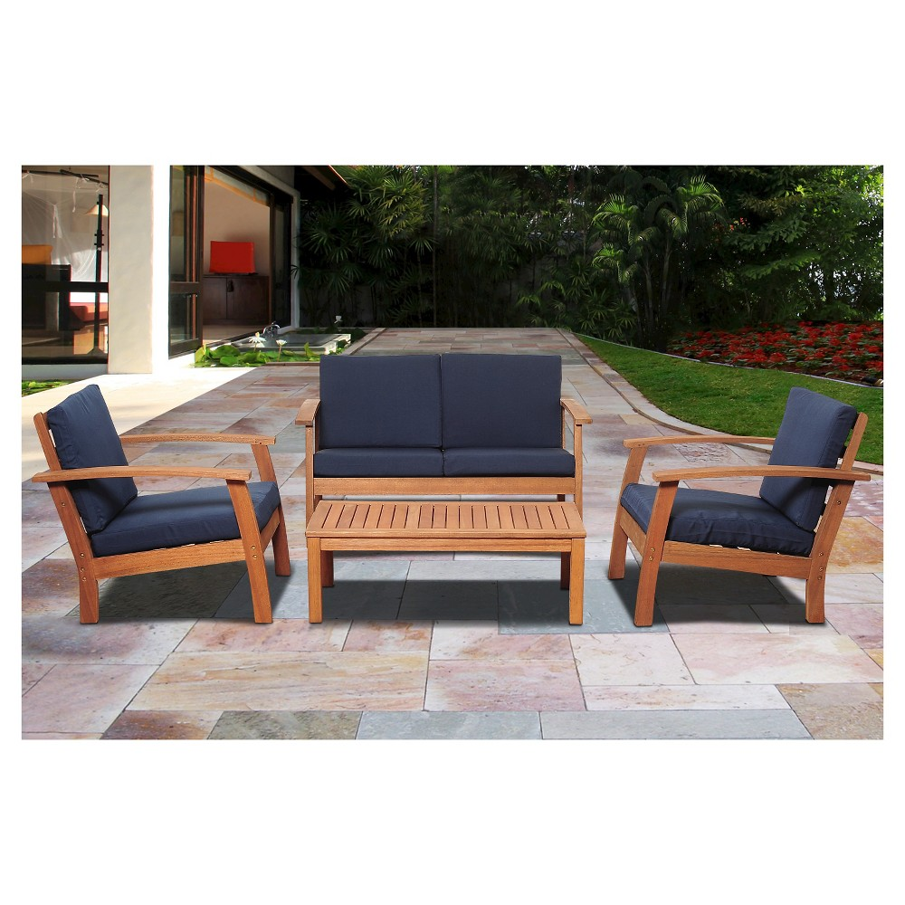 Laguna Beach 4-Piece Eucalyptus Wood Patio Set with Blue Cushions - Brown
