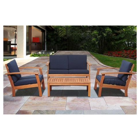 Laguna Beach 4 Piece Eucalyptus Wood Patio Set With Blue Cushions