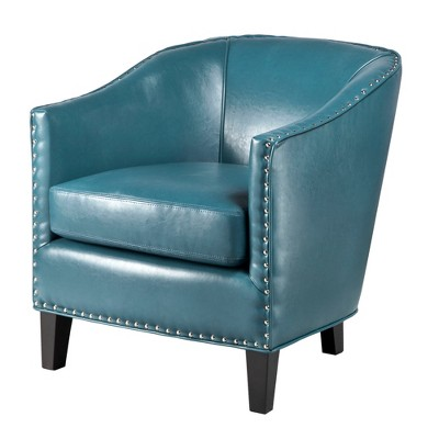 Fremont Shaped Barrel Armchair   Peacock Blue
