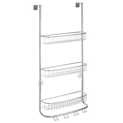 mDesign Metal Hanging Over Shower Door Caddy, Bathroom Storage Organizer