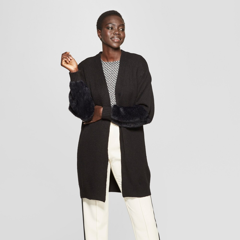 Women's Long Faux Fur Blocked Sleeve Cardigan - Who What Wear Black Xxl
