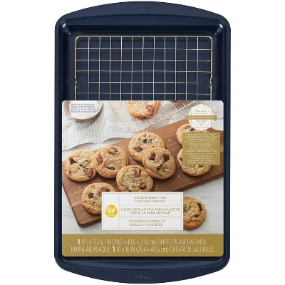 Wilton 2pc Diamond-Infused Non-Stick Large Cookie Sheet with Cooling Rack Navy Blue/Gold