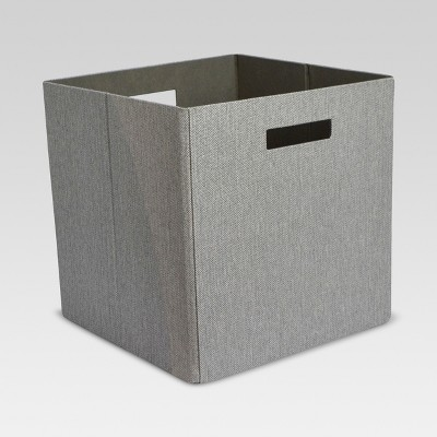 "13"" Fabric Cube Storage Bin Gray - Threshold™"