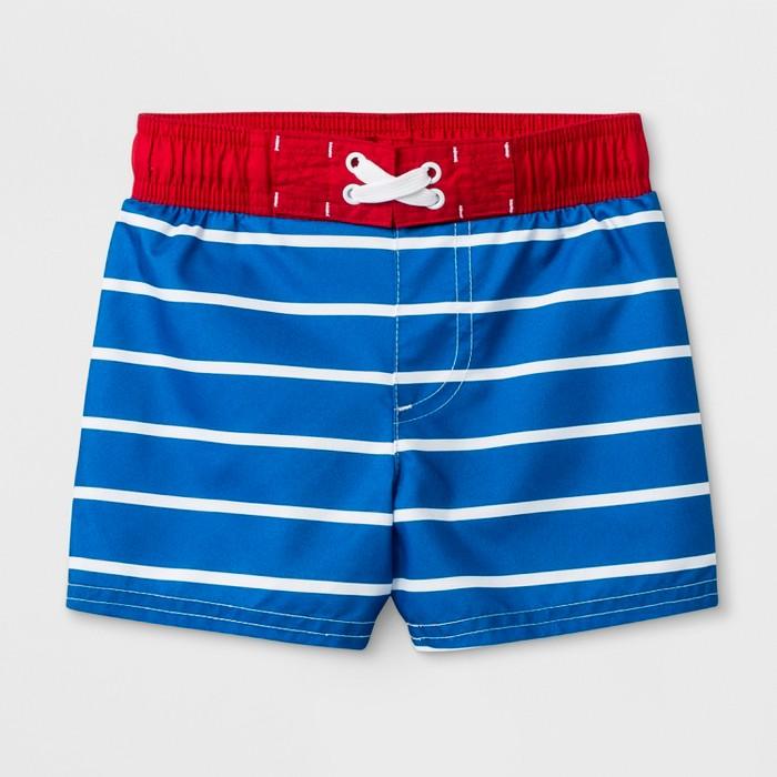 Baby Boys' Striped Swim Trunks - Cat & Jack™ Blue - image 1 of 1