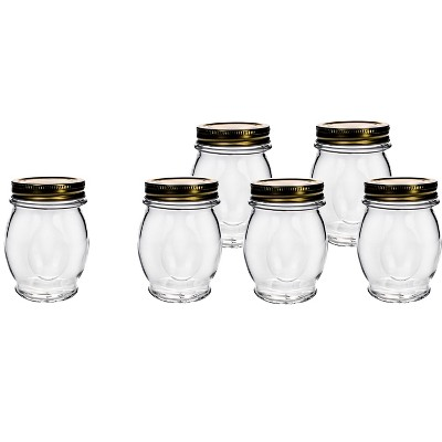 Amici Home Italian Glass Canning Jar, 13.75oz, Set of 6