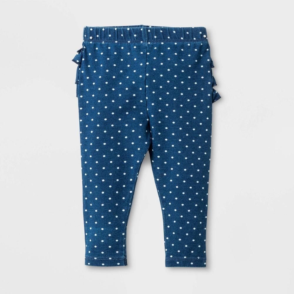 Baby Girls' Ruffle Bum Faux Denim Jeans Polka Dot - Cat & Jack Dark Wash 0-3M, Blue
