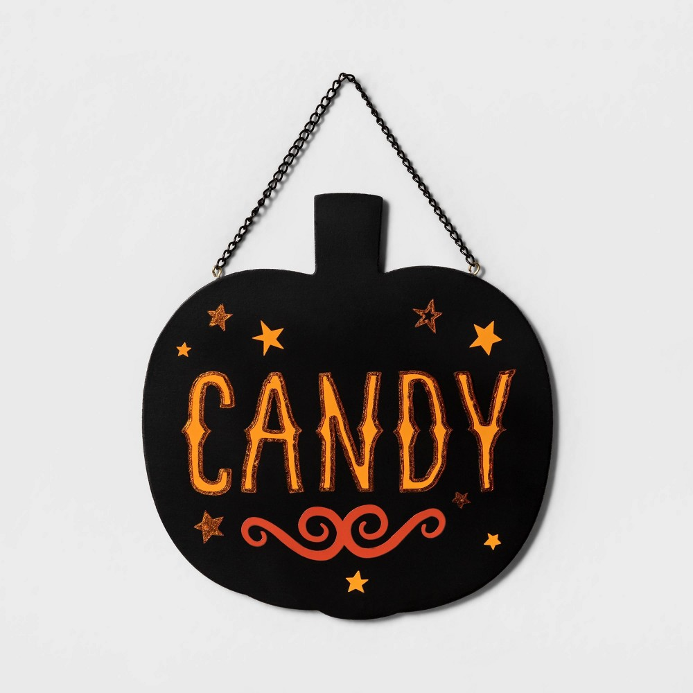 Image of Halloween Candy/Out of Candy Reversible Halloween Hanging Sign - Hyde & EEK! Boutique , Black