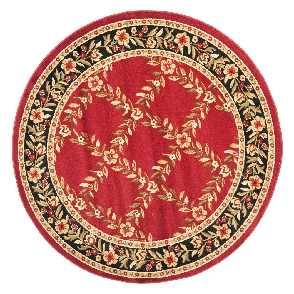 5'3 Floral Loomed Round Area Rug Red/Black - Safavieh