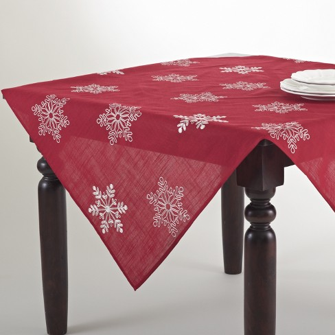 """72""""x16"""" Snow Crystal Topper Table Runner Red - Saro Lifestyle - image 1 of 2"""
