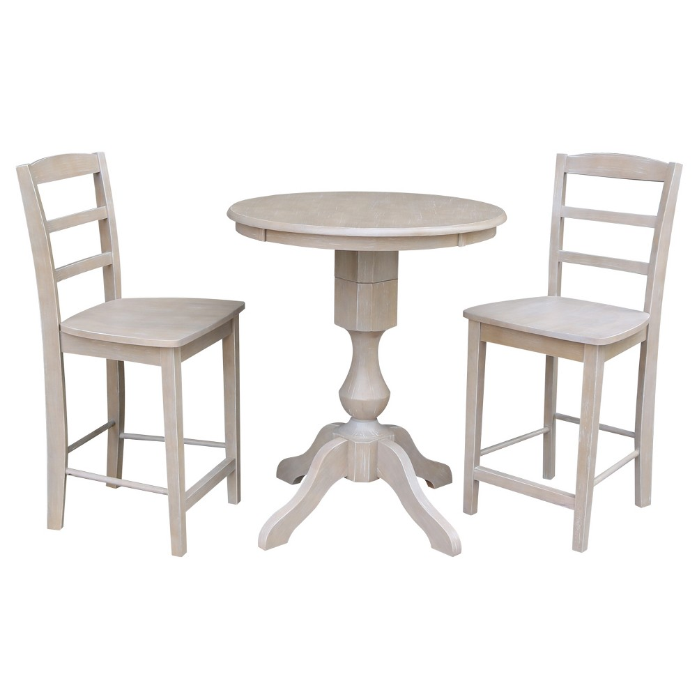 3pc Solid Wood 30x30 Round Pedestal Counter Height Table and 2 Madrid Stools Washed Gray Taupe - International Concepts was $899.99 now $674.99 (25.0% off)