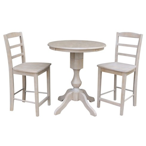 Solid Wood 30 X Round Pedestal Counter Height Table And 2 Stools Weathered Gray 3pc Set International Concepts