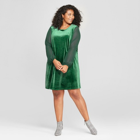 Women s Plus Size Chiffon Sleeve Velour Dress - Ava   Viv™ Green ... 2f94c8d2bc