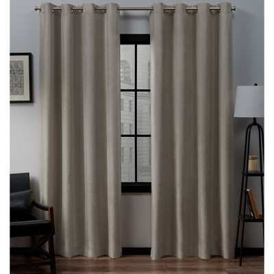 Loha Linen Grommet Top Window Curtain Panel Pair Beige 52x108 - Exclusive Home