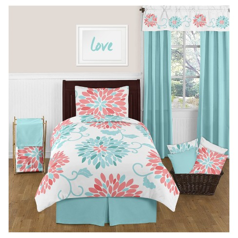 Twin Bed Bedding Sets.Coral Turquoise Emma Comforter Set Twin Sweet Jojo Designs
