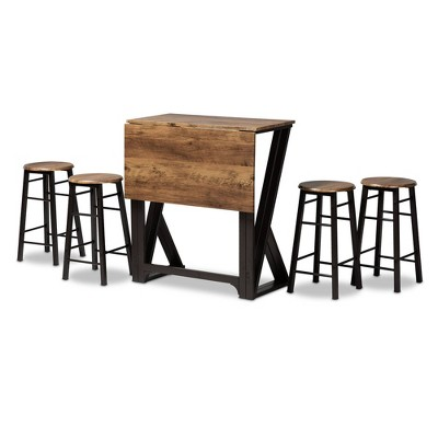 5pc Pub Drop Leaf Table Dining Set Metal and Richard Wood Ash Walnut/Black - Baxton Studio