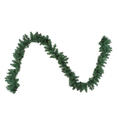 """Northlight 9' x 10"""" B/O Pre-Lit Artificial Whitmire Pine Christmas Garland - Clear LED Lights"""
