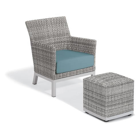Enjoyable 2Pc Argento Club Chair And Pouf With Powder Coated Aluminum Frame And Resin Wicker Ice Blue Oxford Garden Forskolin Free Trial Chair Design Images Forskolin Free Trialorg