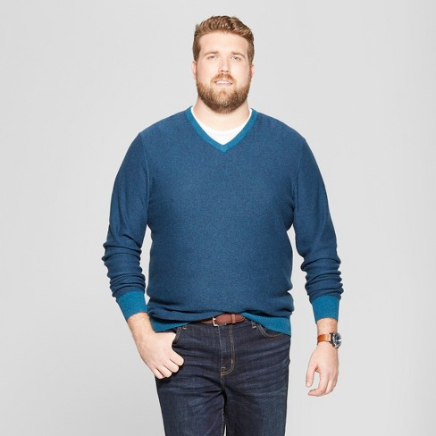 Men's Big & Tall Striped V-Neck Sweater - Goodfellow & Co™ Blue 2XBT - image 1 of 3