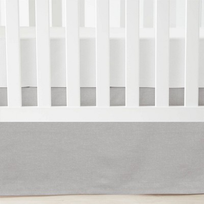 Lush Décor Printed Linen Textured Solid Crib Skirt - Gray Single