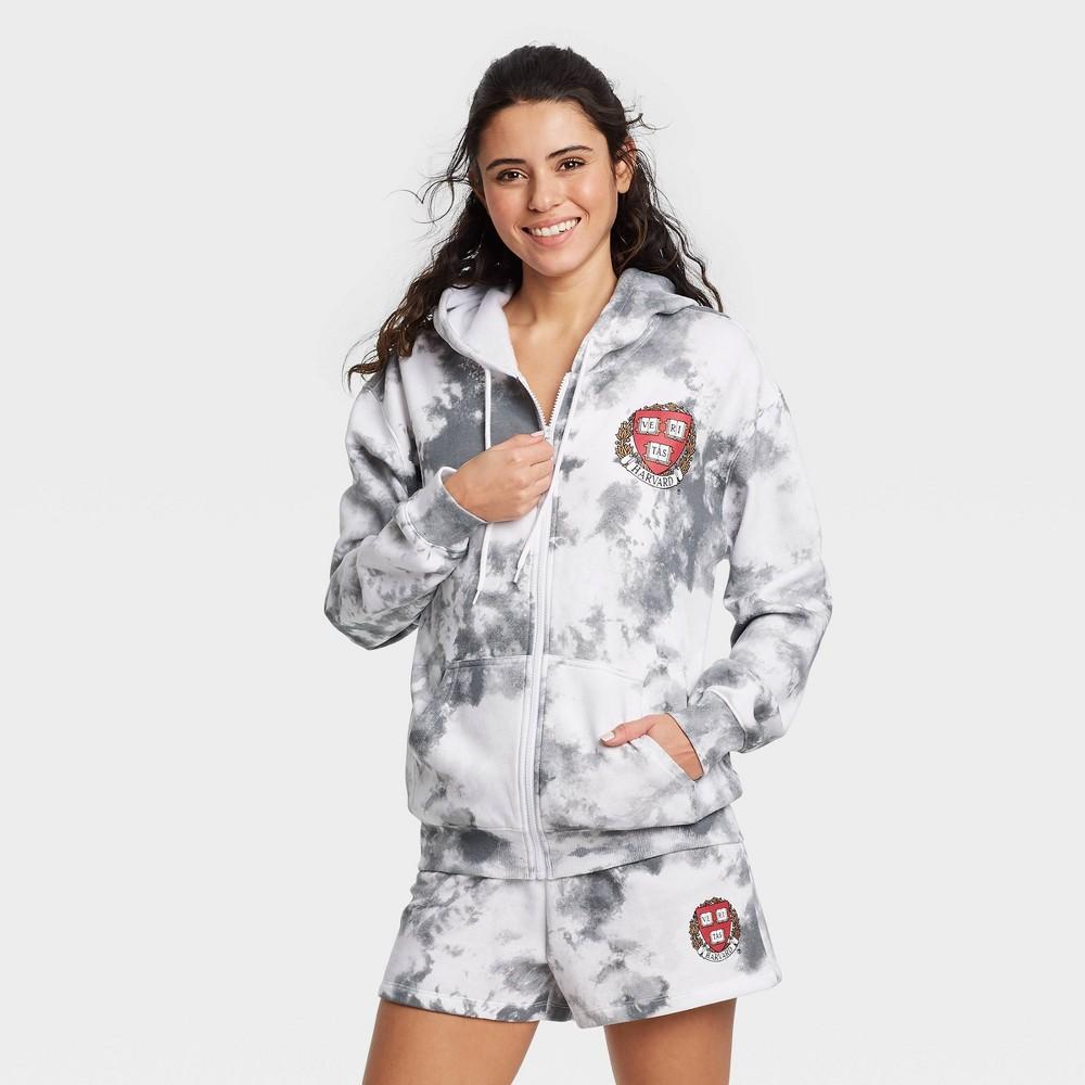 Women 39 S Harvard Athletic Zip Up Hooded Graphic Sweatshirt Gray Xxl