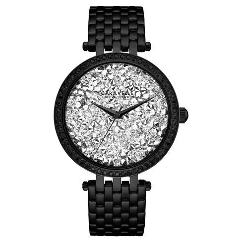 Women's Bracelet New Caravelle Crystal York 45l160 Swarovski Black Watch Accent Stainless LzVGUSqpjM