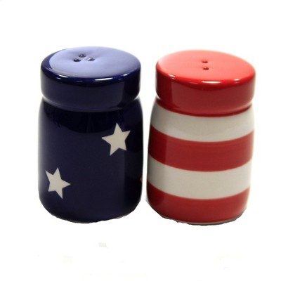 "Tabletop 2.75"" Mason Jar Salt & Pepper Set Patriotic Red White Blue Transpac  -  Salt And Pepper Shaker Sets"