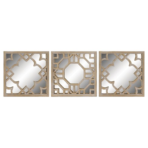 Square Mirror Set of 3 Light Brown - Threshold™ - image 1 of 1