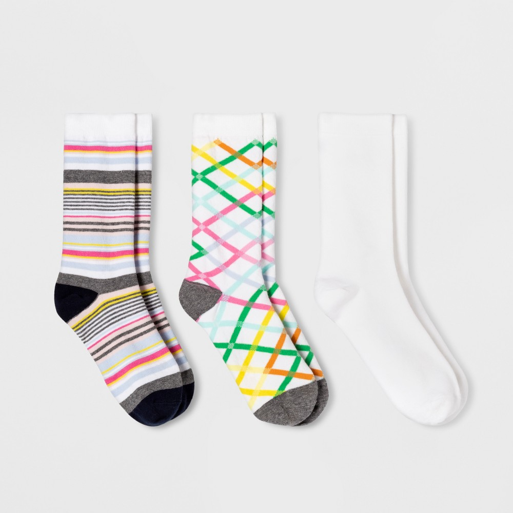 Women's 3pk Plaid Crew Socks - A New Day White One Size, Multi-Colored