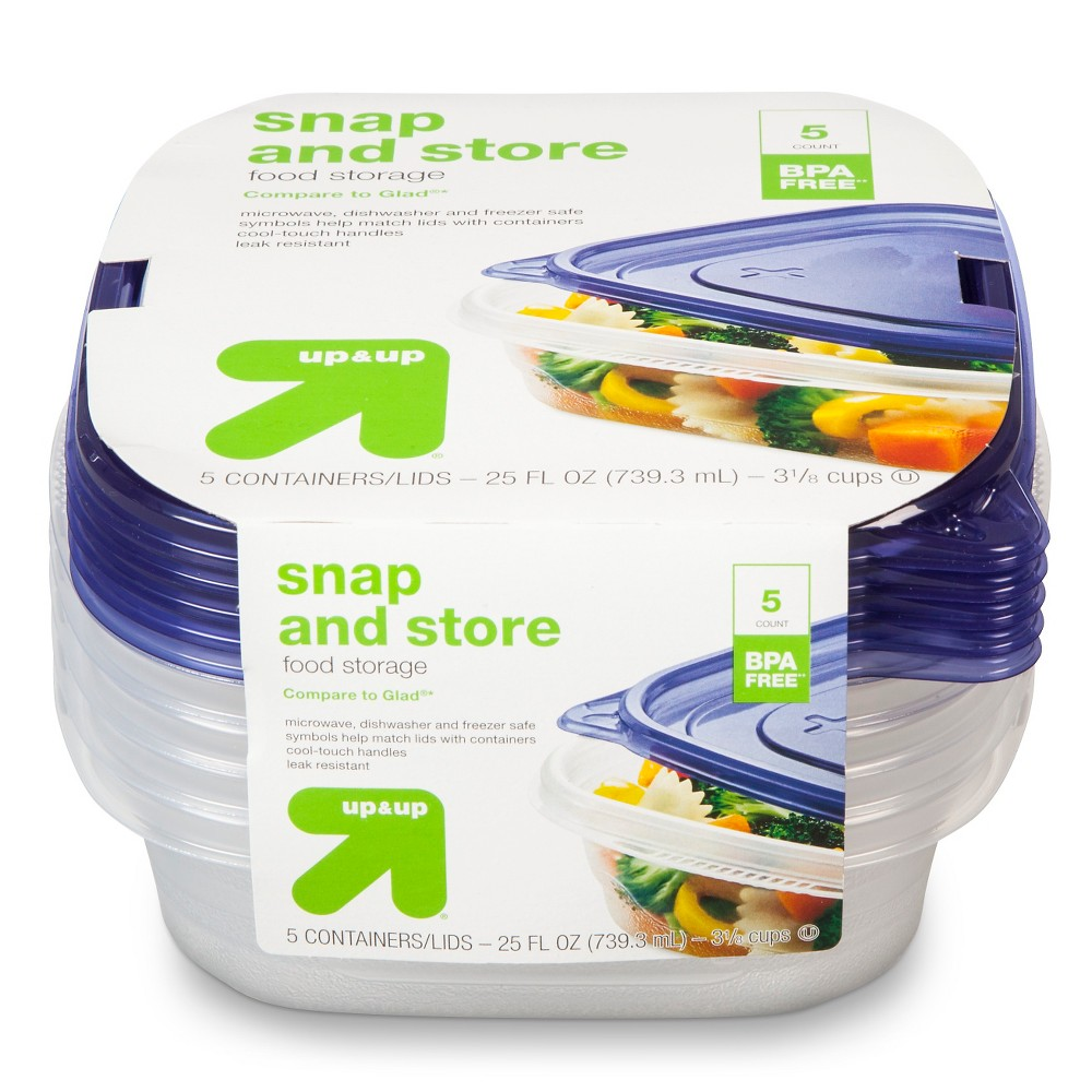 Snap and Store Food Storage Containers - 5ct (25 fl oz each) - Up&Up (Compare to Glad), Clear