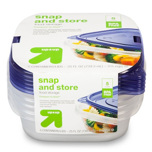 Snap and Store Small Square Food Storage Container - 5ct/25oz - up & up™ - image 1 of 1