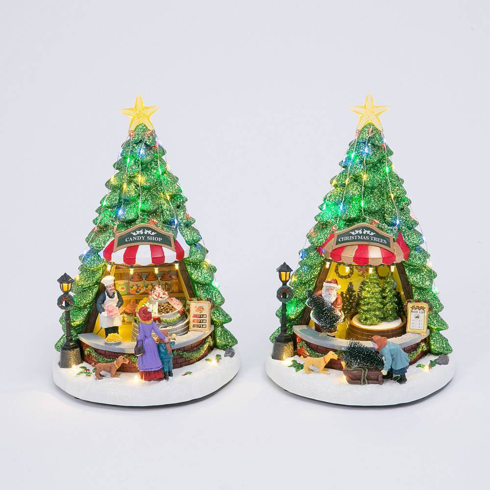 """Image of """"13"""""""" Battery Operated Lit Musical Christmas Tree With Moving Scene Decorative Figurine - Gerson International"""""""