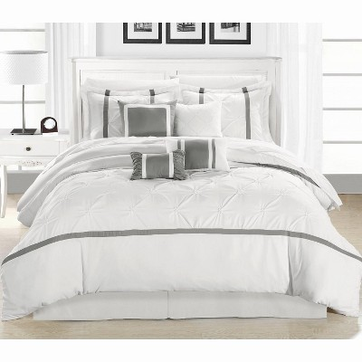Chic Home Vermont Solid Pleating Oversized Soft Plush Microfiber Embroidered Silver & White Comforter Bed In A Bag Set 8 Piece
