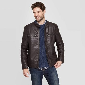 Men's Midweight Faux Leather Moto Jacket - Goodfellow & Co™ Brown XL